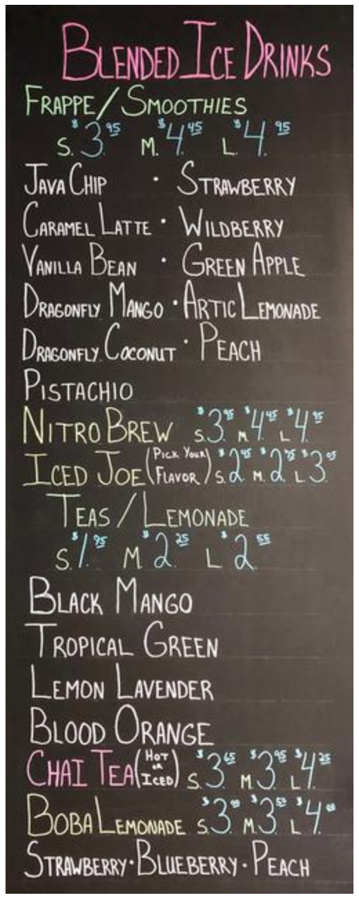 Smoothie and Iced Drink Menu
